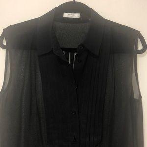 Equipment black tuxedo silk top size small